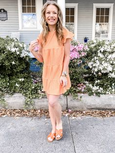 Orange Babydoll Dress - Savvy Lane