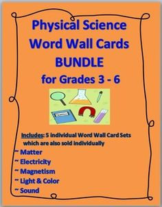 PHYSICAL SCIENCE Word Wall Cards BUNDLE: ... Matter, Electricity, Magnetism, Light & Color, Sound Energy