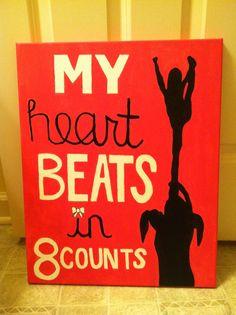 heart beats in 8 counts Cheerleading quote wall decor, girl bedroom.My heart beats in 8 counts Cheerleading quote wall decor, girl bedroom. Cheer Camp, Cheer Coaches, Cheer Stunts, Cheer Dance, Cheer Tryouts, Cheerleading Bedroom, Cheerleading Quotes, Cheer Quotes, Cheerleading Crafts