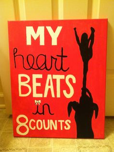 My heart beats in 8 counts Cheerleading quote wall decor, girl bedroom.