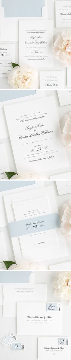 """Taylor has a good mix of modern and classic elements, and makes use of the """"grid"""", a design concept that focuses on alignment and spacing for clean visual appeal. The delicate script, called-out date, and modern block font make this the perfect suite for a timeless and classic wedding. Paired with an ice blue envelope liner and French Blue ribbon, Taylor will have you falling in love over and over again. Click here to customize your perfect wedding invitation!"""
