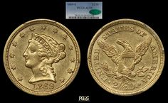 1869-S $2.5 Quarter Eagle PCGS AU55 CAC - Submitted by Michael Beygelman #CoinOfTheDay #COTD Canadian Maple Leaf, Coin Collecting, Coins, Eagle, Money, Paper, Silver, Gold, Beautiful