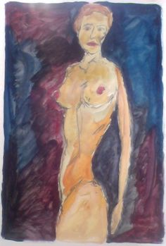 Nude; oil paint and pencil on paper: 8x11""