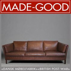 Superbe 1970s Retro Vintage Midcentury Danish Mogensen Style Leather Lounge Club  Sofa | EBay