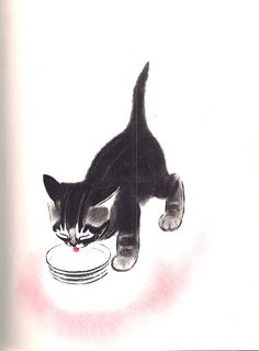 Clare Newberry Vintage Cat Print  Cat Illustration Newberry