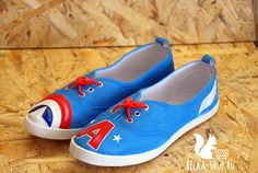 Captain America Shoes | Marvel superhero Steve Rogers sneakers shoes | Hand painted gym shoes by Belkashop on Etsy