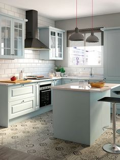 Browse photos of Small kitchen designs. Discover inspiration for your Small kitchen remodel or upgrade with ideas for organization, layout and decor. Kitchen Tiles, Kitchen Layout, Kitchen Flooring, White Kitchen Appliances, Kitchen Cabinets, Home Appliances, Cupboards, Rustic Kitchen, Diy Kitchen
