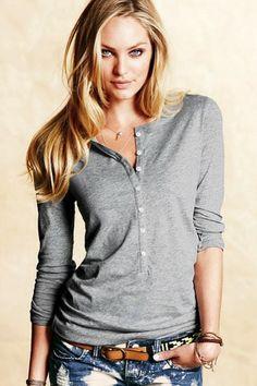 Victoria's Secret Pima Cotton Henley Tee