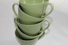 Vintage 1950's Avacado Green Melmac Tea Cups by shanieandsallie