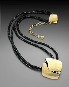 """Dorothee Naumburg """"Crinkled Gold Pendant"""" hand-fabricated in 18K gold, set with seed pearls."""