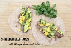 New Slow Cooker Recipe: Shredded Beef Tacos with Mango Avocado Salsa | 5DollarDinners.com