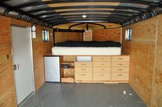 """Cargo trailer camper ...I am planning on buying a 6ft X 12 Ft enclosed cargo trailer that has a 6 ft 6"""" ceiling height  and do this kind of project. Having one of these allows you keep your preps out of sight, pre-packed, ready to go and serve as multi-purposes. Love it!"""