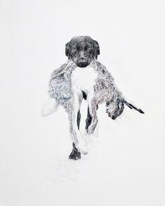Ramona Schnekenburger, Hund mit Hase, 100 x 80 cm, Farb- und Bleistift auf Leinwand, 2017