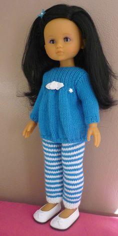 Ensemble pantalon rayé et tunique pour poupée Chérie (Adaptation du modèle de Nathalie du blog  « Histoires de Poupées » du 09/10/2016): 1) http://marieetlaines.canalblog.com/archives/2016/12/05/34156471.html  2) http://p7.storage.canalblog.com/74/95/1066432/113258673.pdf