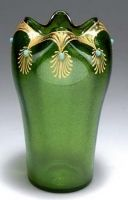 Loetz Aventurin - 1903-1904  Colorless ground; inner casing of green glass with fused mica powder.