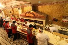 Open kitchen with a ocakbasi and freshly made bread