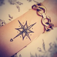 cute small compass tattoo