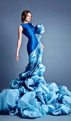 "Starlit Carpet Gown for General Leia Organa Jean Louis Sabaji, Spring 2014 "" "" Jean Louis Sabaji Spring 2014 Couture Foto Fashion, Estilo Fashion, Fashion Mode, Blue Fashion, Couture Fashion, Runway Fashion, Fashion Art, High Fashion, Fashion Show"