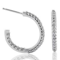 #Malakan #Jewelry - Platinum-Silver Diamond Hoop Earrings 83379A #Earrings #Hoops #Fashion