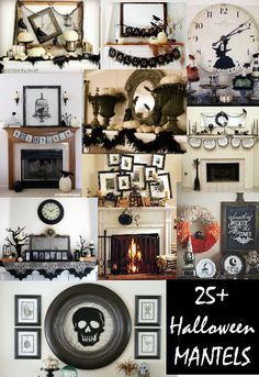 ROUND-UP of 25+ Halloween Mantels. Must See!! #halloween #mantel