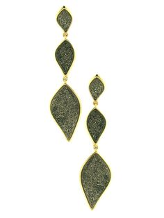 Yellow Gold Plated Triple Leaf Drop Druzy Pierced Earrings at Jennifer Miller