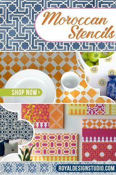 Moroccan Stencils patterns for dressing up walls and furniture with exotic and geometric patterns! Find one that's just your style! Affordable DIY decor and home decorating projects - Royal Design Studio Stencils