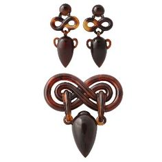 Victorian Classic Urns Tortoise Shell Earring & Brooch Suite