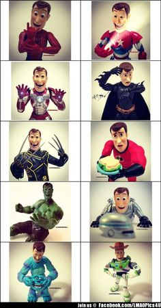 Woody as your favorite superhero His face as wolverine is priceless