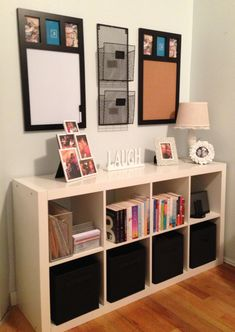 Command center using and Ikea Expedit shelf and matching cork board and white board from TJ Maxx. :)