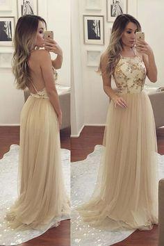 Beautiful backless cream tulle ball dress #promdress
