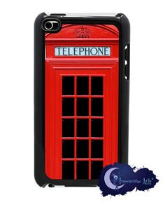Red British Telephone Booth, Phone - Case, Cover for iPod Touch 4th Generation