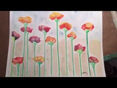 Watercolor Techniques Drip flowers - YouTube