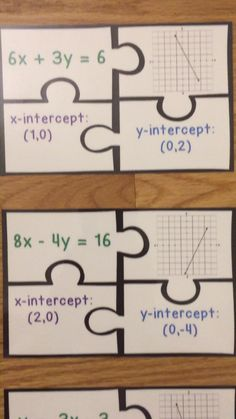 Graphing Linear Equations Activity Slope Intercept Form Finding X and Y Intercepts Puzzles - Math Math Center Rotations, Graphing Activities, Math Lesson Plans, Math Projects, Guided Math, Bingo, Teaching Math, Group Work, Morning Work