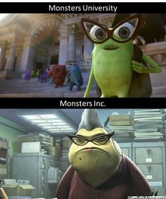 This can't be true because eat the end of monsters university it shows here as an adult. But I like to think it's true.