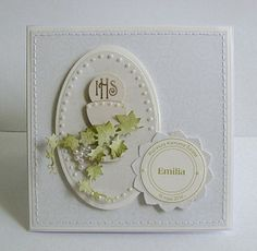 Christening or Communion Handmade Card by Dorota First Communion Cards, First Communion Invitations, Quilling, Baptism Gifts, Hobbies And Crafts, Scrapbook Cards, Christening, Invitation Cards, Cardmaking