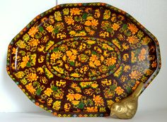 Daher Decorated Ware Tray Made In England Unique Vtg Daher Decorated Ware Tray Plate Floral Flowers Gold 2 Set Of 2 Inspiration