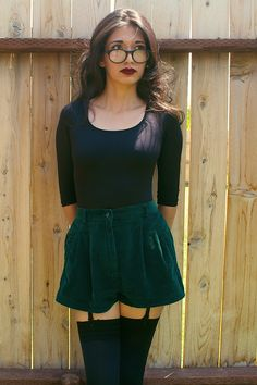 These shorts are just one of many high waisted pairs I've upcyled from previously gross, unflattering pants. Luckily all I had to do was chop and rehem. They flare out just like the classic '50s pairs I lust after. The emerald shade has me hooked.  Photos by Omar Oseguera