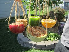Bird Feeder- Clean out fruit, make holes and tie on the twine, fill with bird seed.