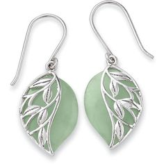 Green Jade and Sterling Leaves Earrings (640 HRK) ❤ liked on Polyvore featuring jewelry, earrings, jade jewellery, jade jewelry, green jewelry, leaf jewelry and leaf earrings
