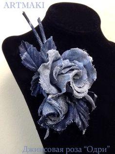 Denim Flowers, Satin Flowers, Leather Flowers, Fabric Flowers, Jean Crafts, Denim Crafts, Handmade Polymer Clay, Handmade Crafts, Denim And Diamonds