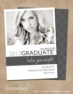 "Graduation Photo Card (Digital or Printed)- ""Contempo"""
