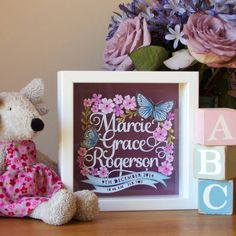 Personalised New Baby Girl Floral Papercut Gift by SAS Creative, the perfect gift for Explore more unique gifts in our curated marketplace. Box Frame Art, Box Frames, Baby Scan Frame, Frame Crafts, Craft Frames, Woodland Nursery Girl, Paper Art, Paper Crafts, Light Up Box