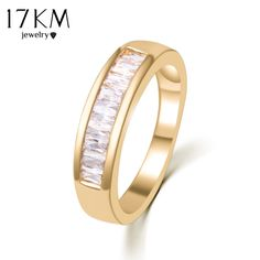 17KM Fashion Austrian Crystal Gold Color Silver Color Ring anelli bague Engagement anillos anel Rings for Women Gift Wedding