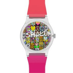 Judaica Retro 60s Psychedelic Shalom LOVE Watch by Lee Hiller