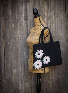 Trendy White Flower Tote Bag by ScarftasticCreations. Explore more products on http://ScarftasticCreations.etsy.com