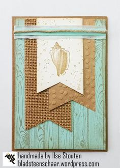 handcrafted card ... beach theme ... aqua and kraft ... luv the textures: burlap ribbon; embossing folder dots;  layered ribbon band topped with twine and stamped woodgrain ...