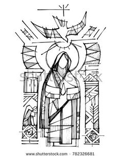 Hand drawn vector ink illustration or drawing of Virgin Mary, Holy Spirit and religious Christian symbols