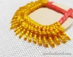 Shisha Stitch Tutorial from the fabulous Mary Corbet -- free tutorial on how to attach mirrors with embroidery Indian Embroidery, Brazilian Embroidery, Crewel Embroidery, Ribbon Embroidery, Cross Stitch Embroidery, Embroidery Stitches Tutorial, Hand Embroidery Designs, Embroidery Techniques, Needlepoint Stitches