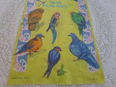 Vintage Tea Towel Birds of New Zealand  by VintageLinenGallery