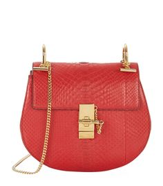 Chloé Small Drew Python Shoulder Bag in Red | Harrods
